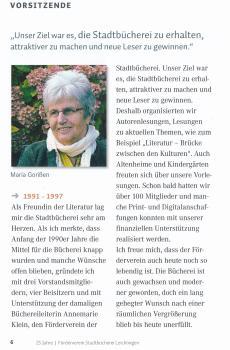 Nachruf Maria Gorißen - Gründerin des Förderverein Stadtbücherei Leichlingen e.V.